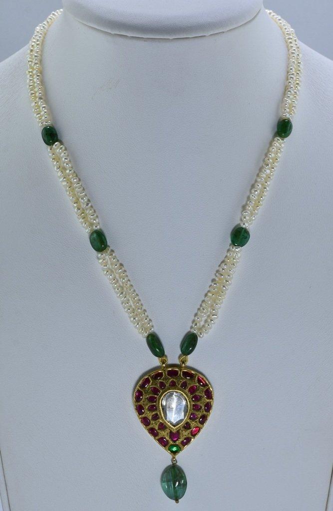 22 kt Gold Ruby, Emerald , Uncut Diamond Pendent - 10