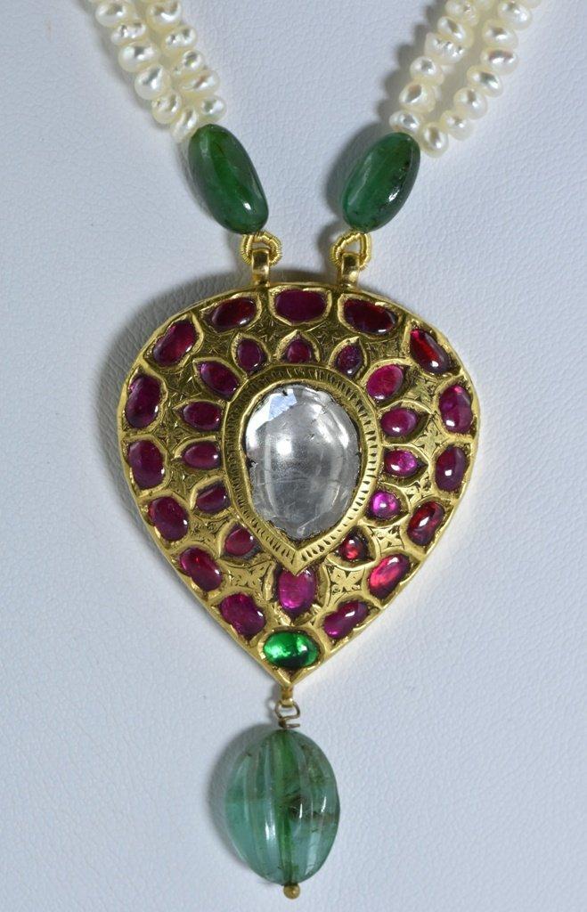 22 kt Gold Ruby, Emerald , Uncut Diamond Pendent