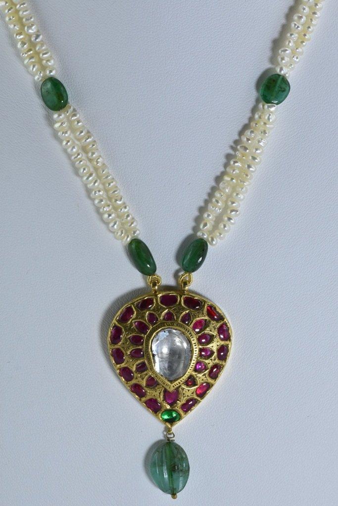 22 kt Gold Ruby, Emerald , Uncut Diamond Pendent - 2