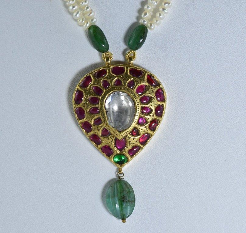 22 kt Gold Ruby, Emerald , Uncut Diamond Pendent - 3