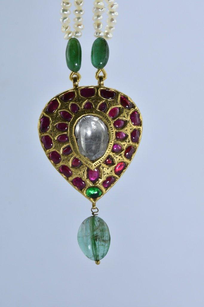 22 kt Gold Ruby, Emerald , Uncut Diamond Pendent - 4