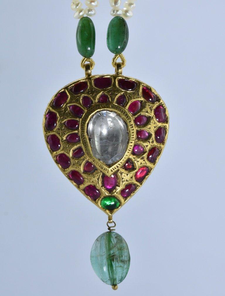 22 kt Gold Ruby, Emerald , Uncut Diamond Pendent - 5