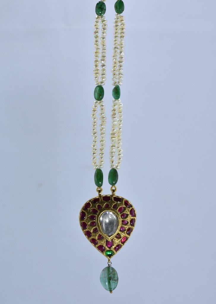 22 kt Gold Ruby, Emerald , Uncut Diamond Pendent - 6