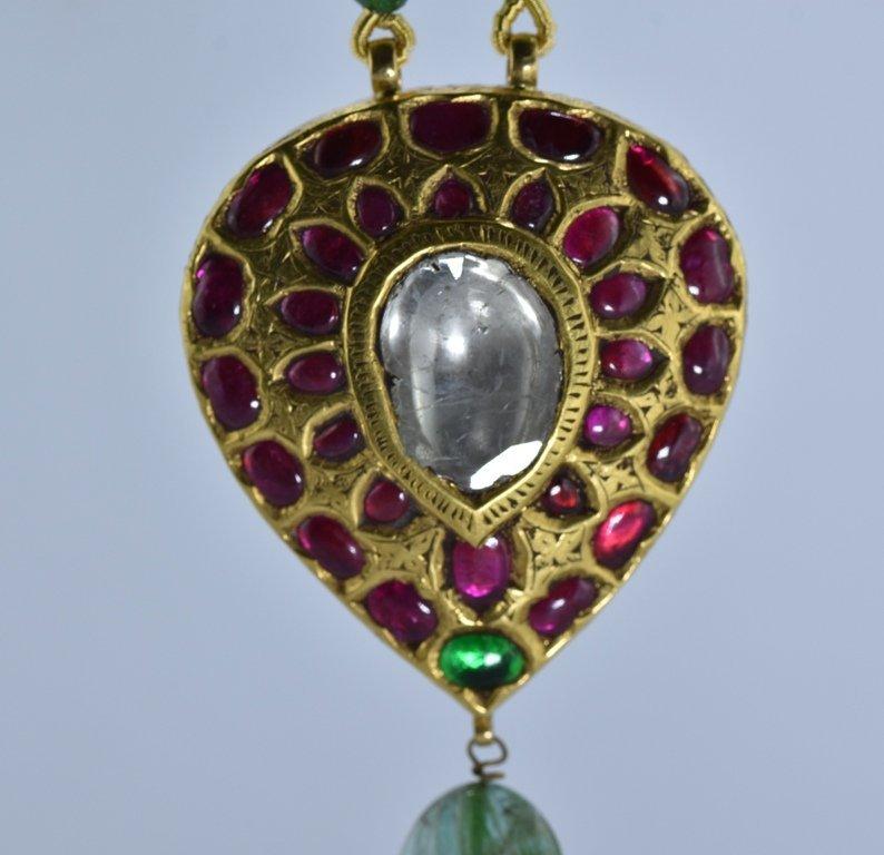 22 kt Gold Ruby, Emerald , Uncut Diamond Pendent - 7