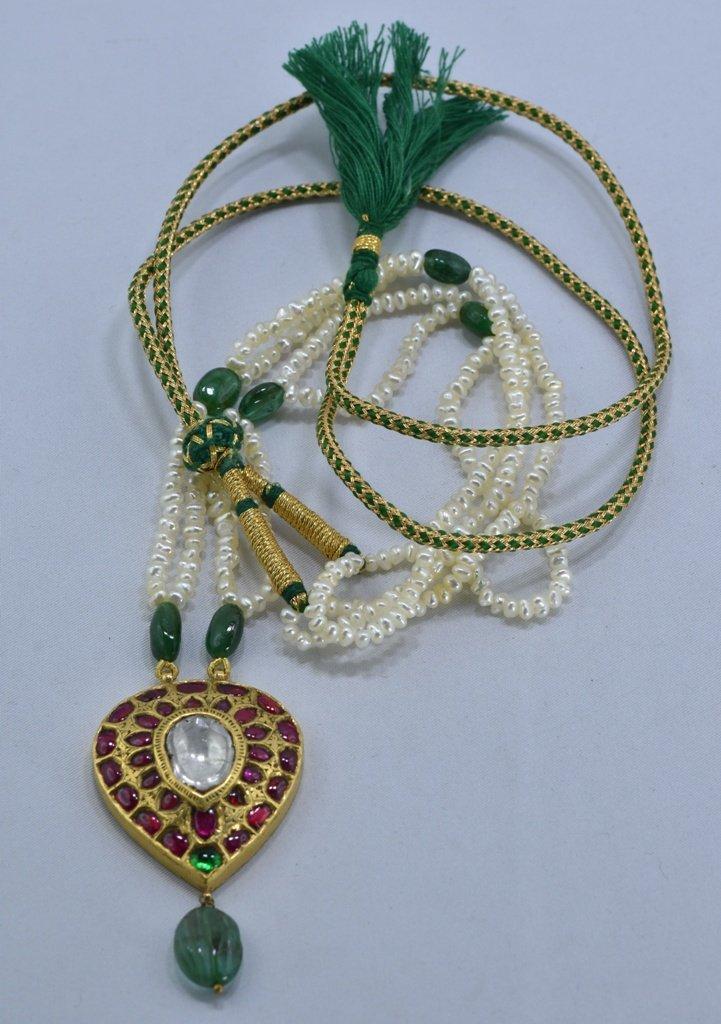 22 kt Gold Ruby, Emerald , Uncut Diamond Pendent - 9