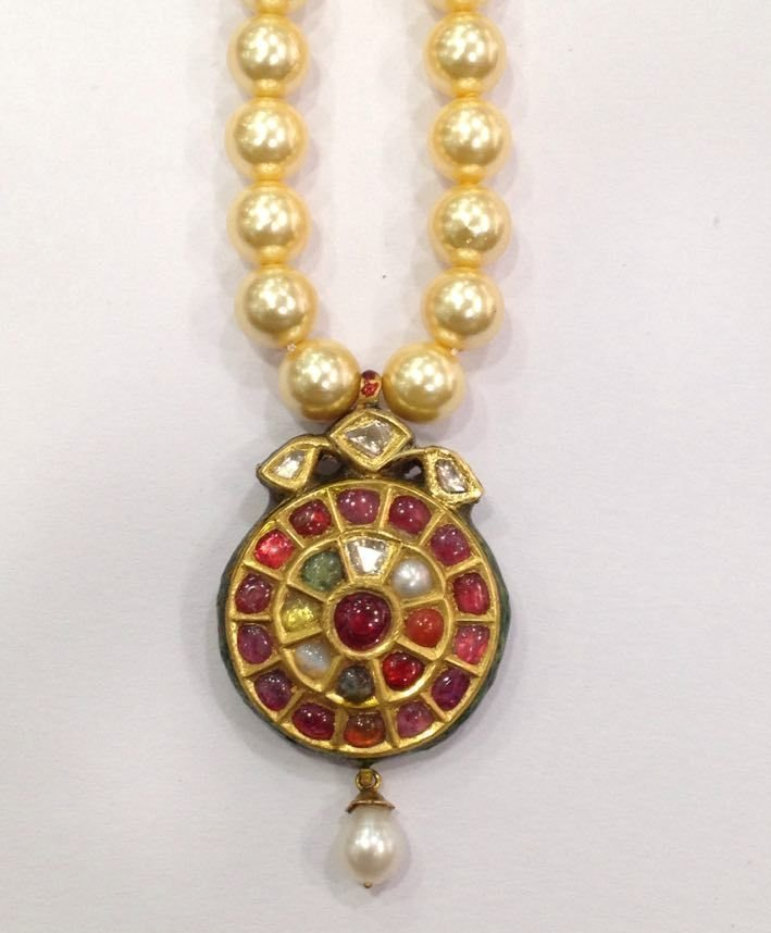 Mughal vintage India 22ct gold/ Precious stone Pendant