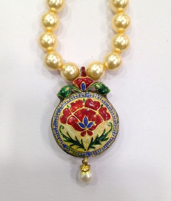 Mughal vintage India 22ct gold/ Precious stone Pendant - 2
