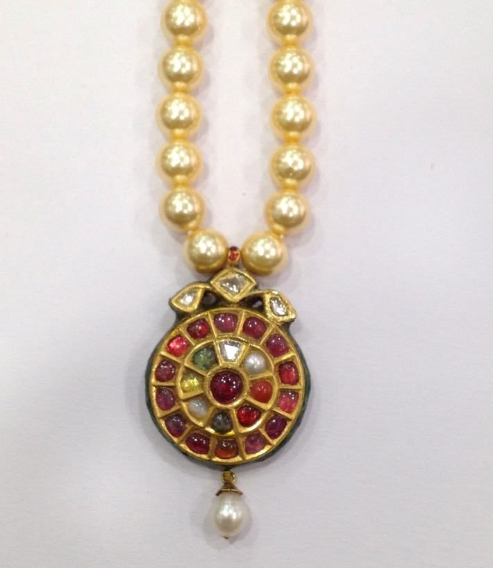 Mughal vintage India 22ct gold/ Precious stone Pendant - 3