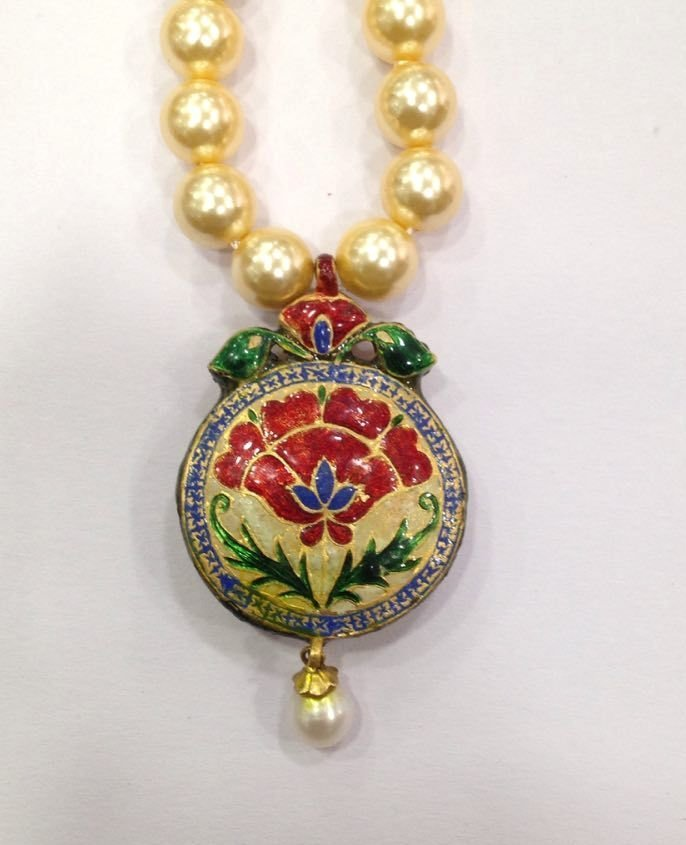 Mughal vintage India 22ct gold/ Precious stone Pendant - 4