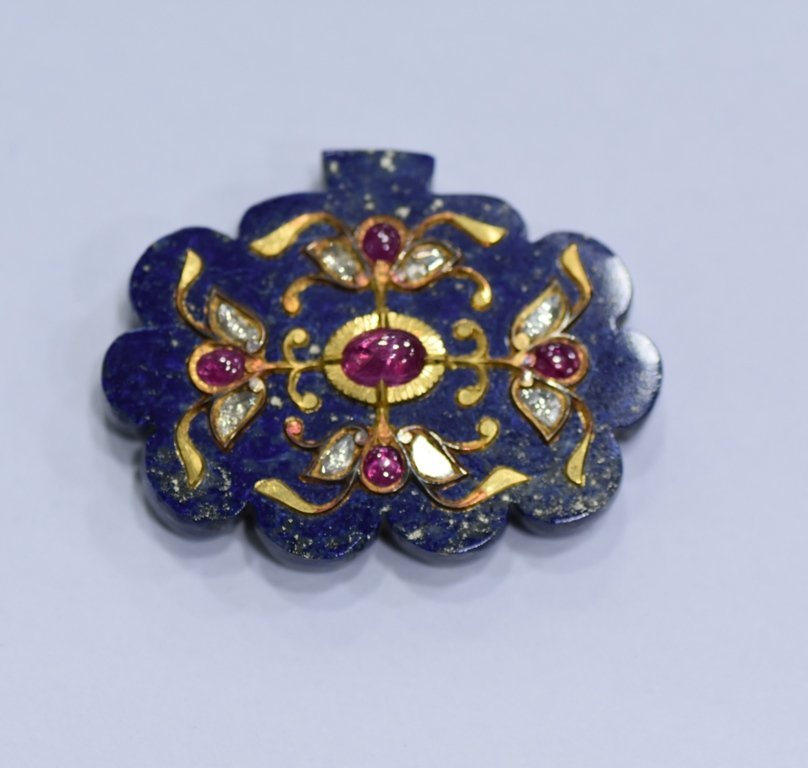 LAPIS LAZULI PENDANT STUDDED WITH GOLD AND GEMS - 5