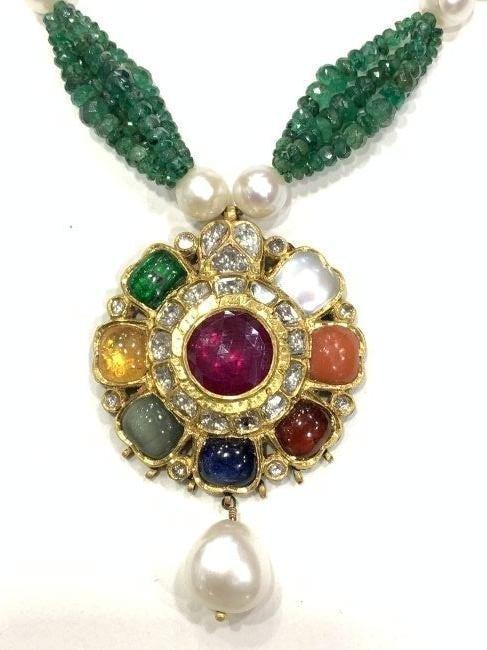 Mughal Style India 22ct gold/ Precious gemstone Pendant