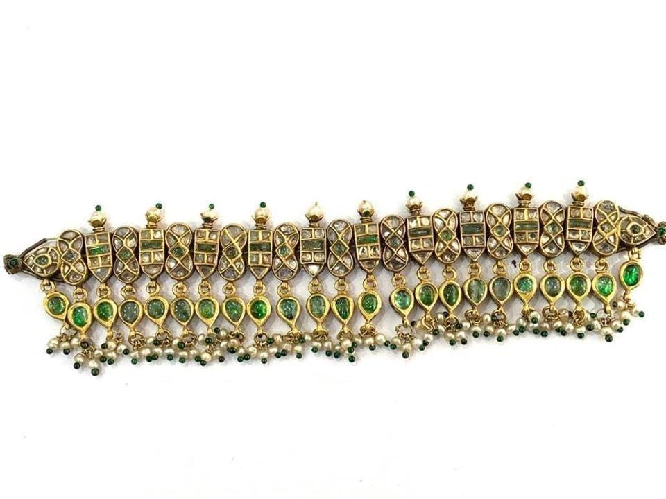 Antique style 22 kt gold kundan Enamel choker Necklace