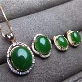 THREE PIECES OF HETIAN GREEN JADE SET