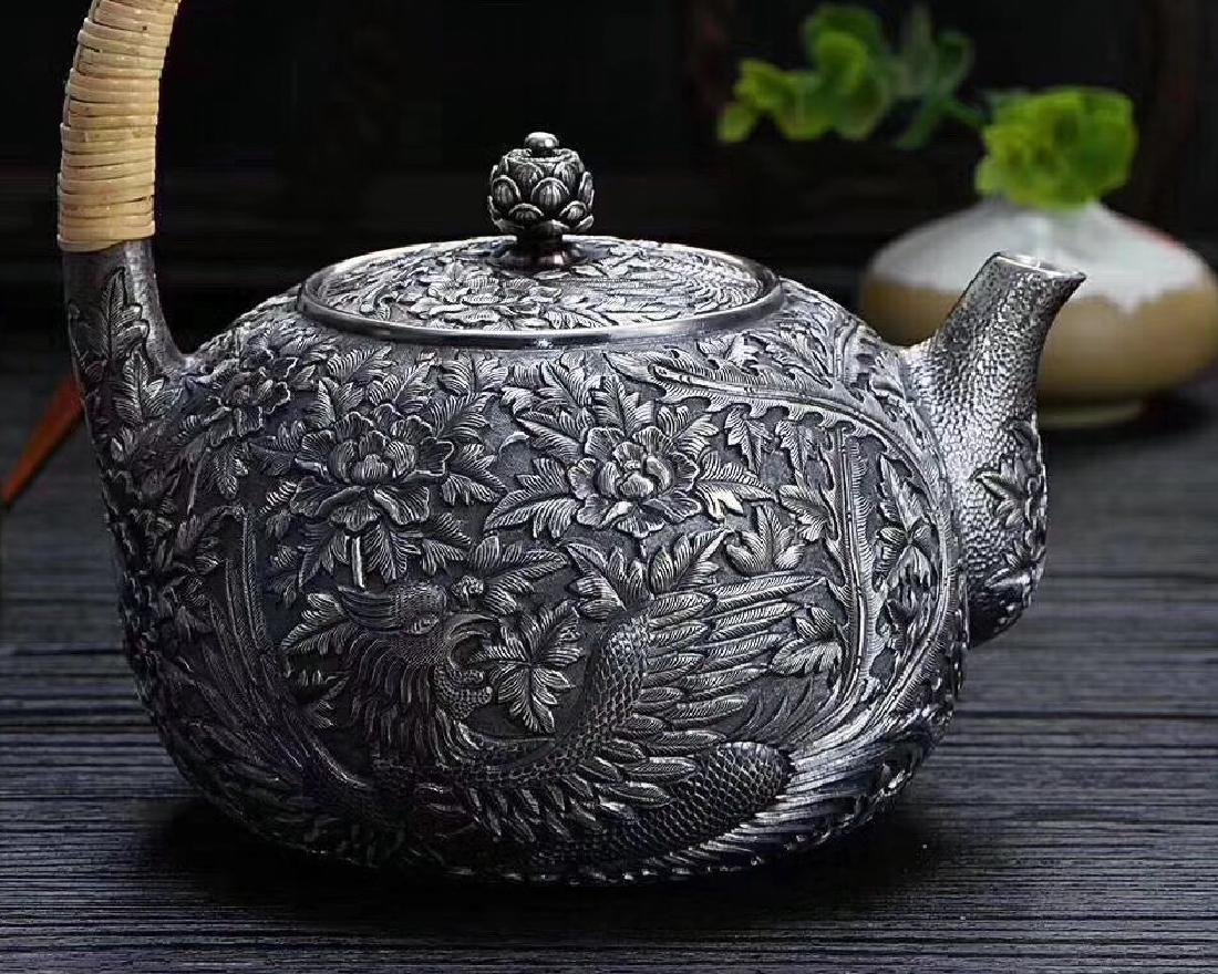 SILVER TEAPOT WITH PHOENIX DESIGN - 3