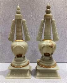 LIAO DYNASTY PAIR OF HETIAN JADE TOWERS