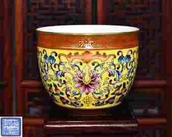 A FALANGCAI CUP WITH QIANLONG YUZHI MARK