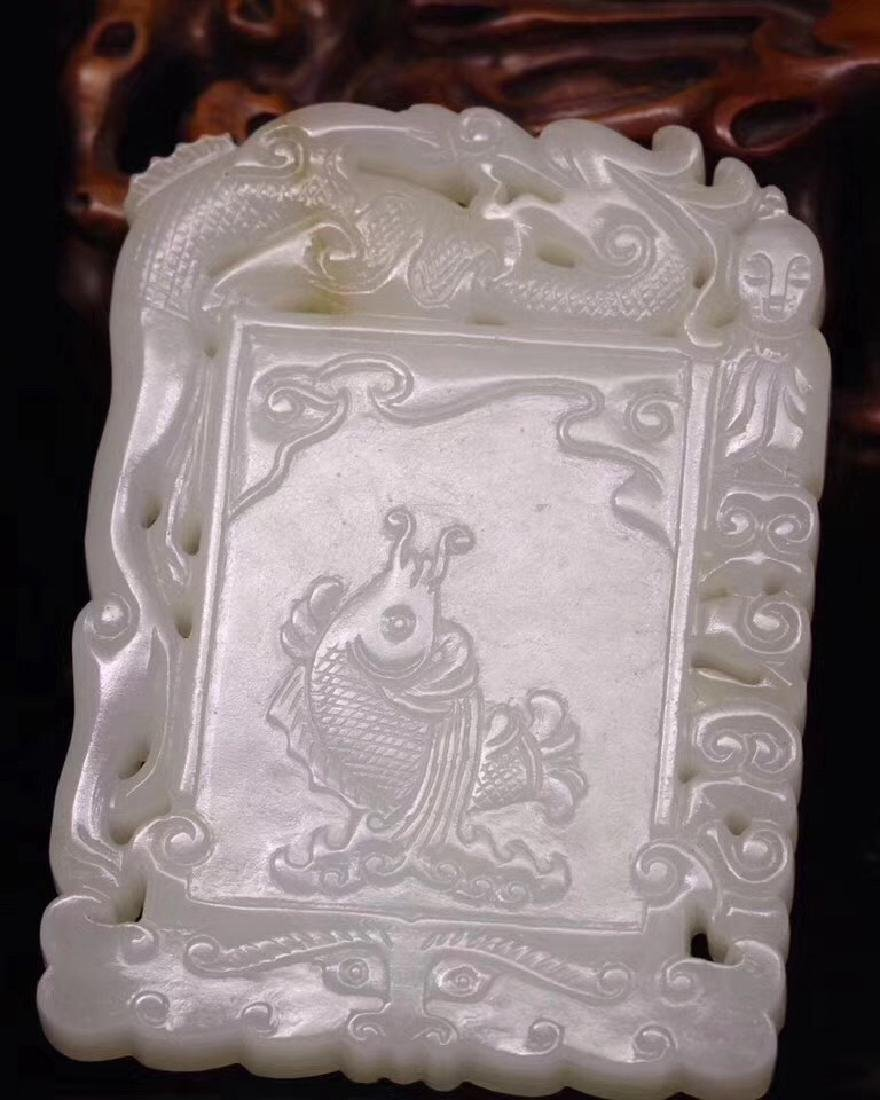 HETIAN JADE PENDANT WITH FISH DESIGN