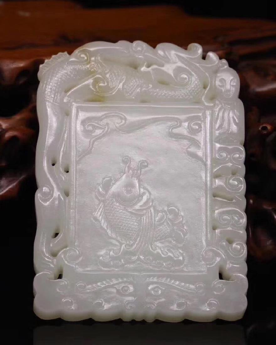 HETIAN JADE PENDANT WITH FISH DESIGN - 4