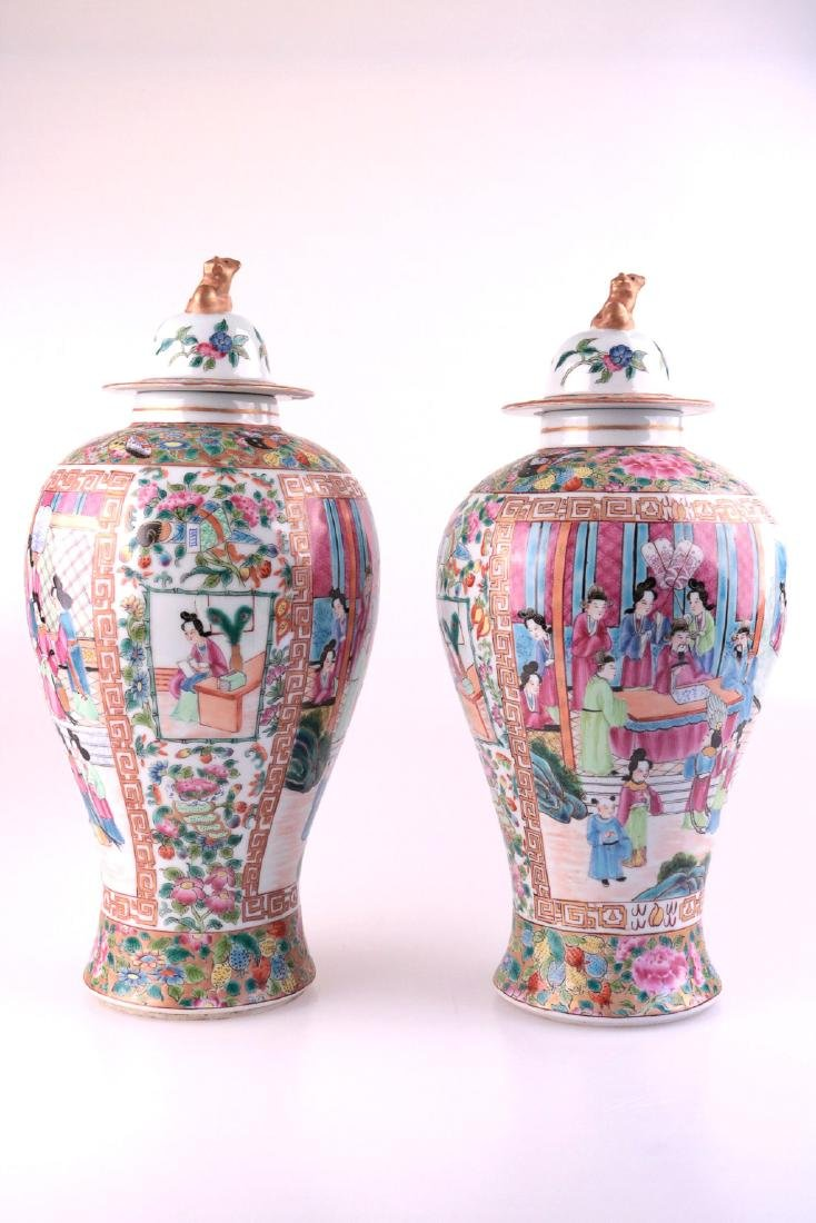 A PAIR OF GUANGCAI FIGURE PATTERN PROCELAIN JARS