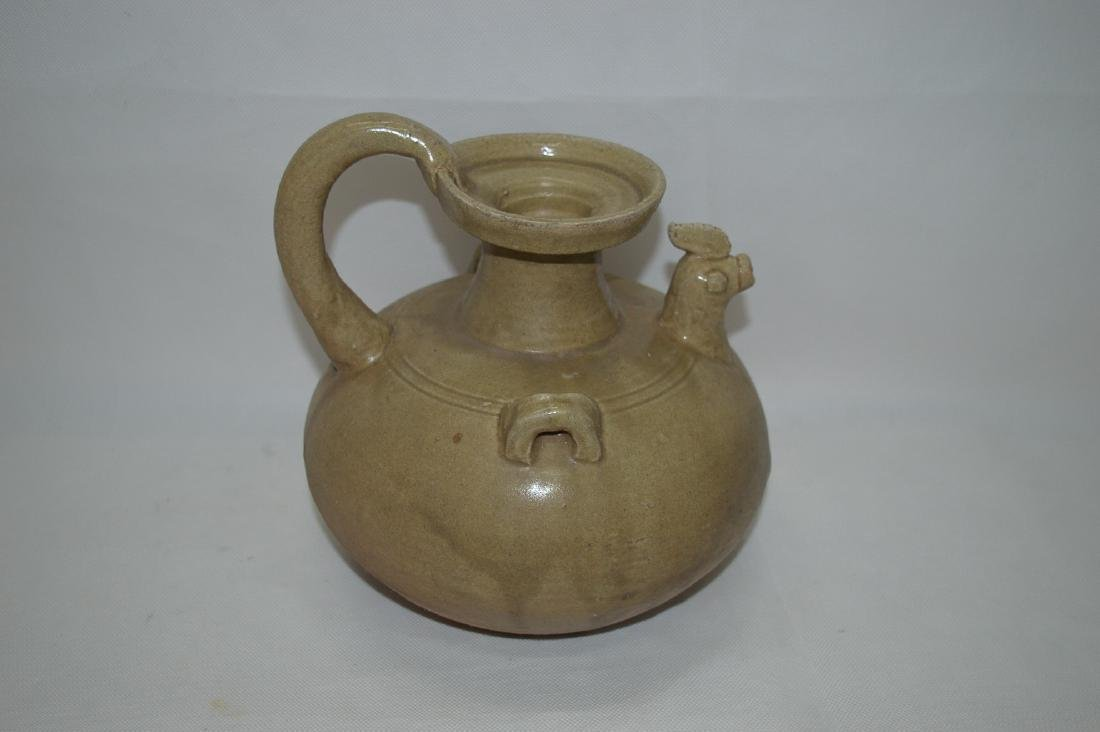 A YUE KILN CHICKEN FIGURE POT