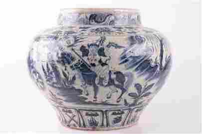 A GUIGUZI BLUE&WHITE JAR, YUAN DYNASTY