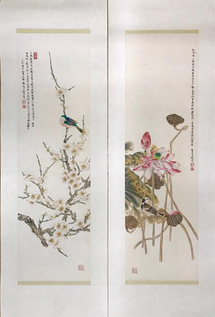 REN ZHONG     A SET OF BLOSSOMS&BIRD PAINTINGS