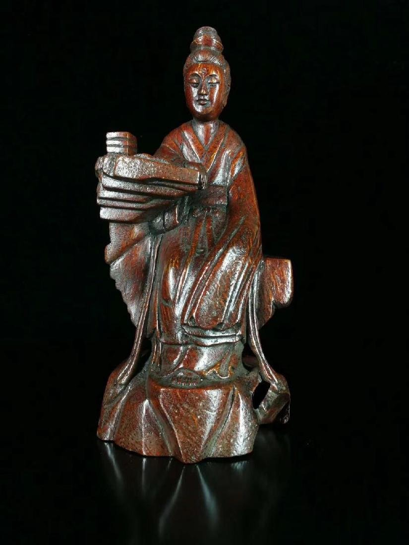 QING BAMBOO CARVED GUANYIN FIGURE
