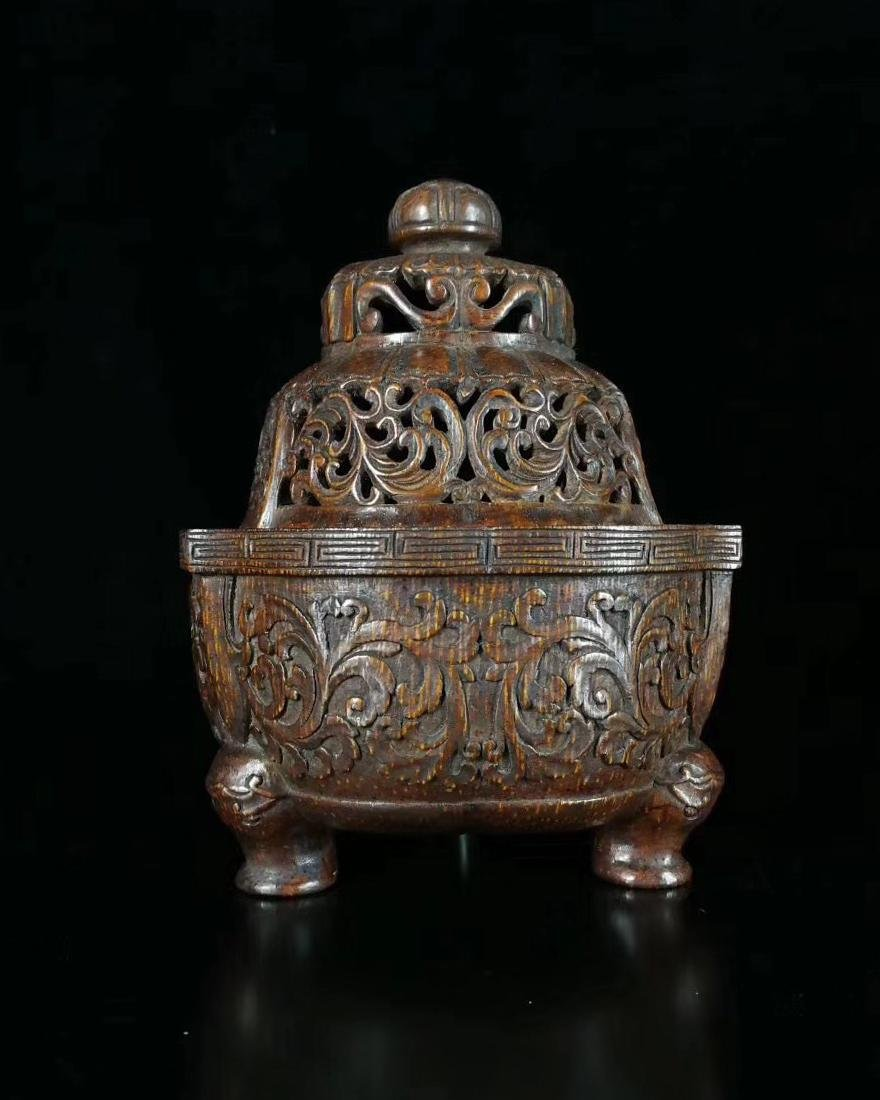 QING BAMBOO CARVED TRIPOD CENSER