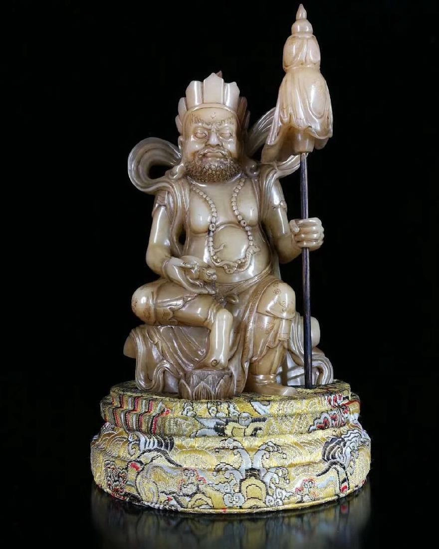 QING FURONG SOAPSTONE BUDDHA FIGURE