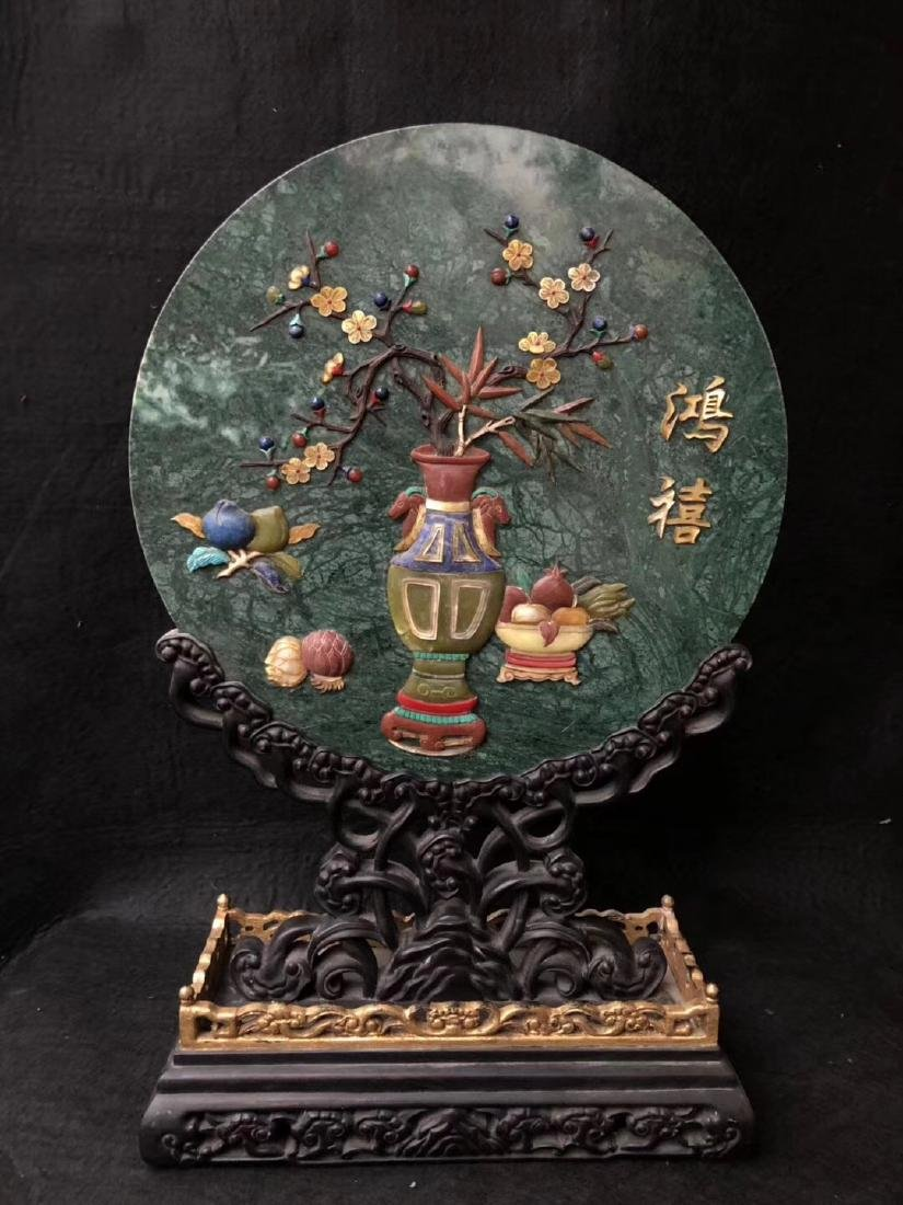 A OLD JADE STONE CARVED SCREEN