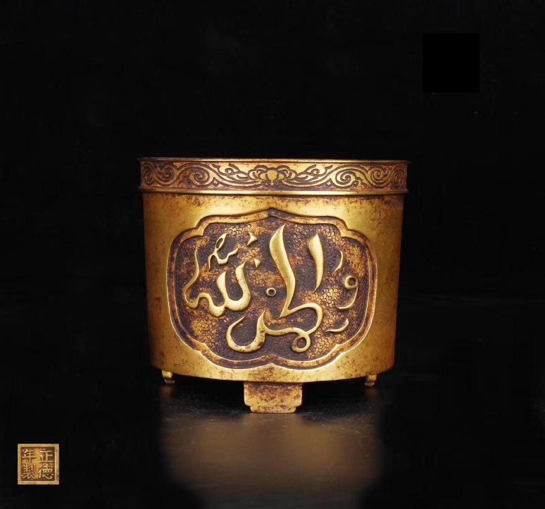 MING GILT BRONZE TRIPOD CENSER WITH MARK