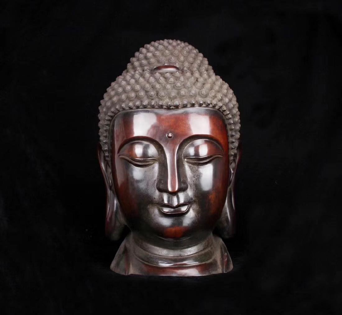 MING BRONZE BUDDHA HEAD FIGURE