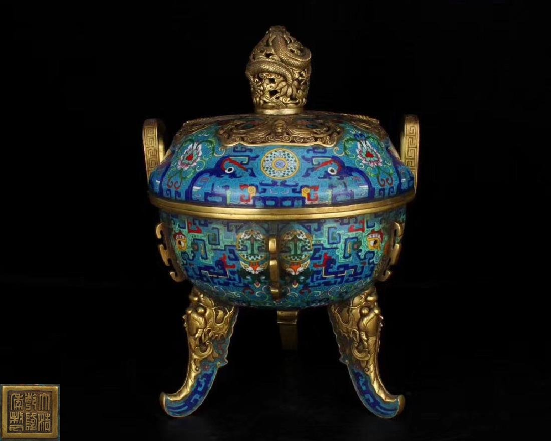 A CLOISONNE ENAMELED CENSER WITH QIANLONG MARK