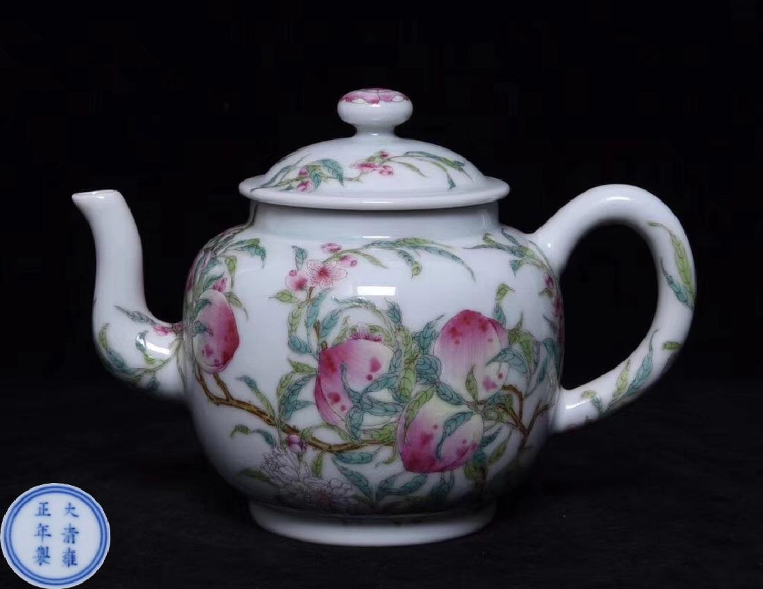A FAMILLE-ROSE TEAPOT WITH YONGZHENG MARK