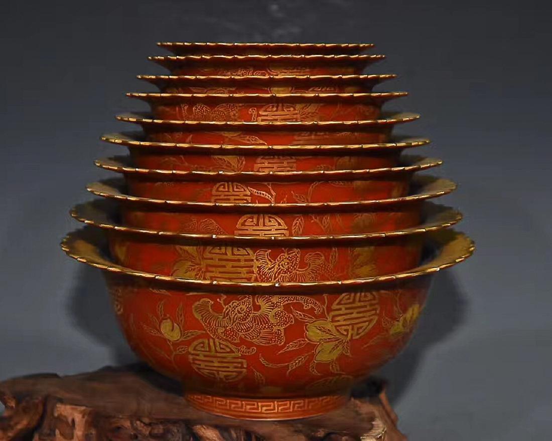 A IRON RED BOWL WITH QIANLONG YUZHI MARK