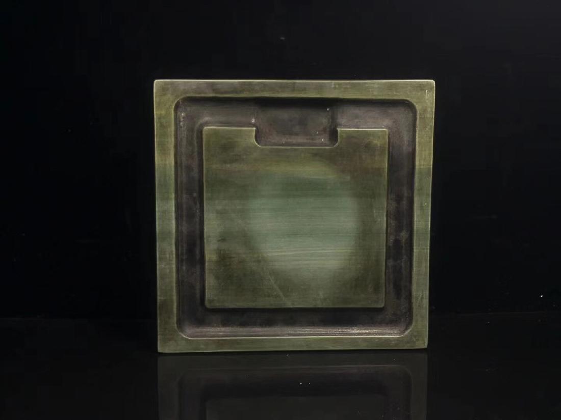 A LIZHONGHE KUAN GREEN DUAN INKSTONE, TONGZHI PERIOD