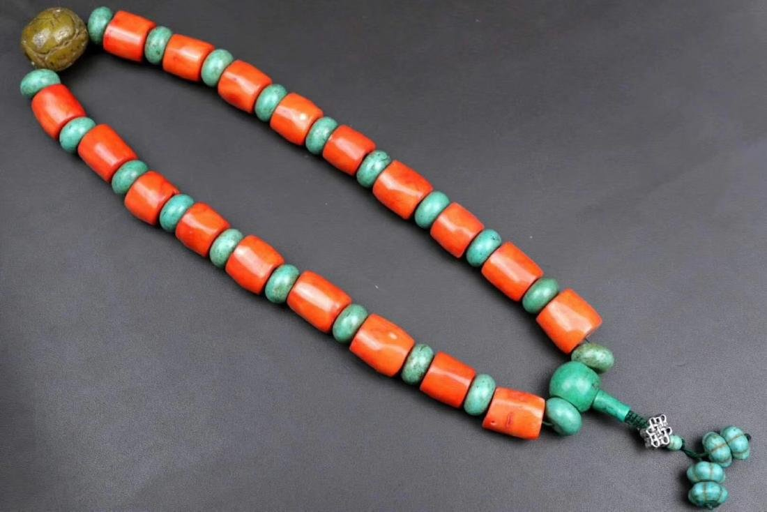 RED CORAL AND TURQUOISE BEADS PENDANT
