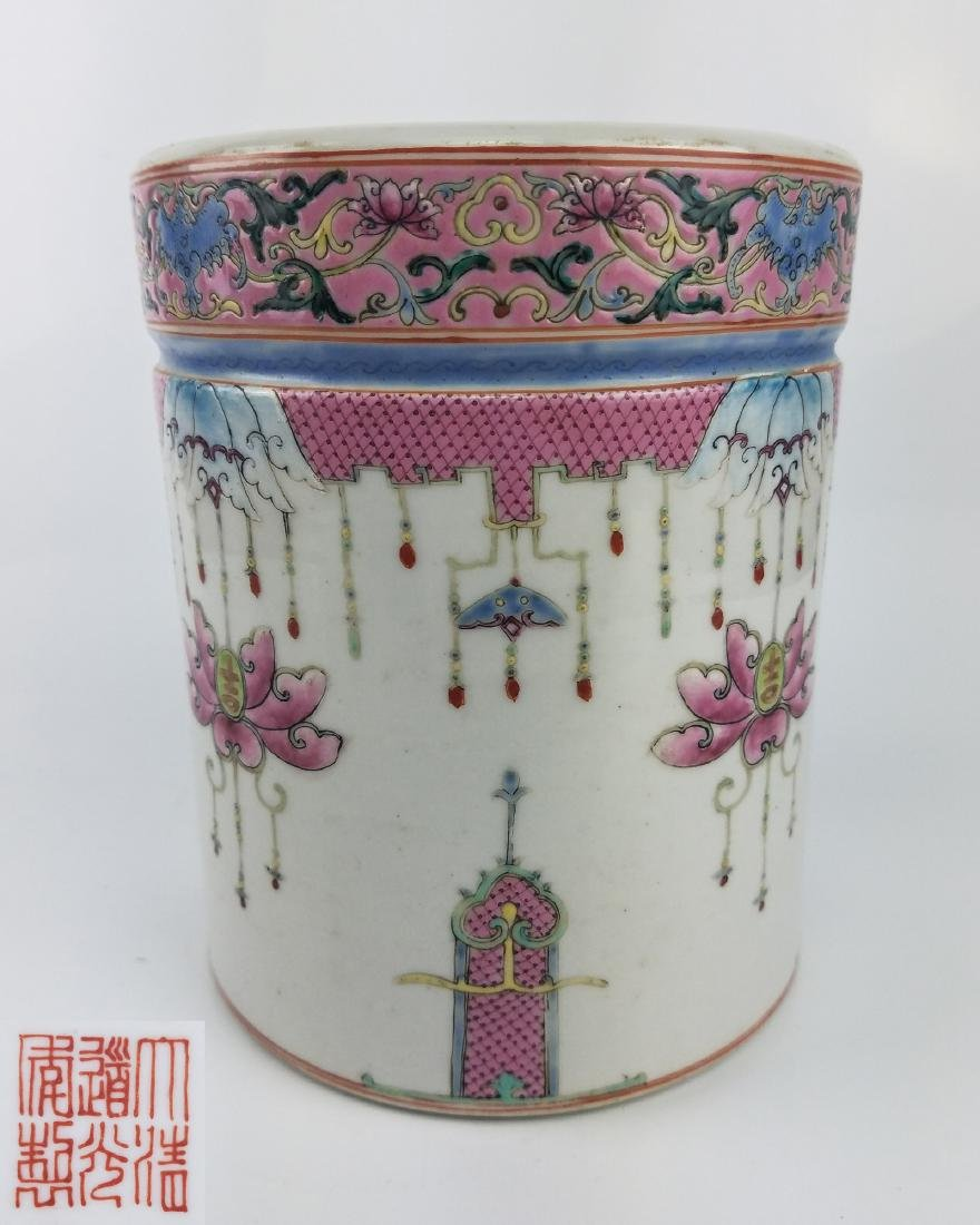 A FAMILLE ROSE BRUSHPOT WITH DAOGUANG MARK