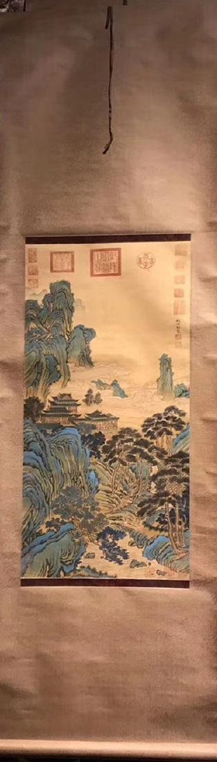 WATERCOLOR PAINTING HAND SCROLL OF ZHAOBOJU SIGN