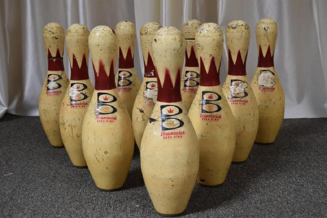 Set of 10 Brunswick Dura-King Bowling Alley Pins.