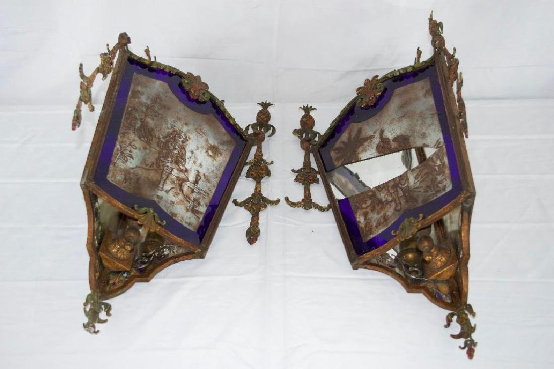 Amazing Pair of Antique Corner Wall Sconces - 2