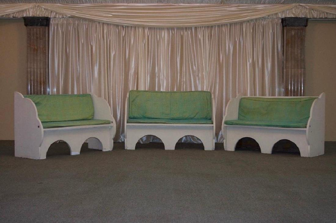 Three Vintage 1960s Wooden Benches