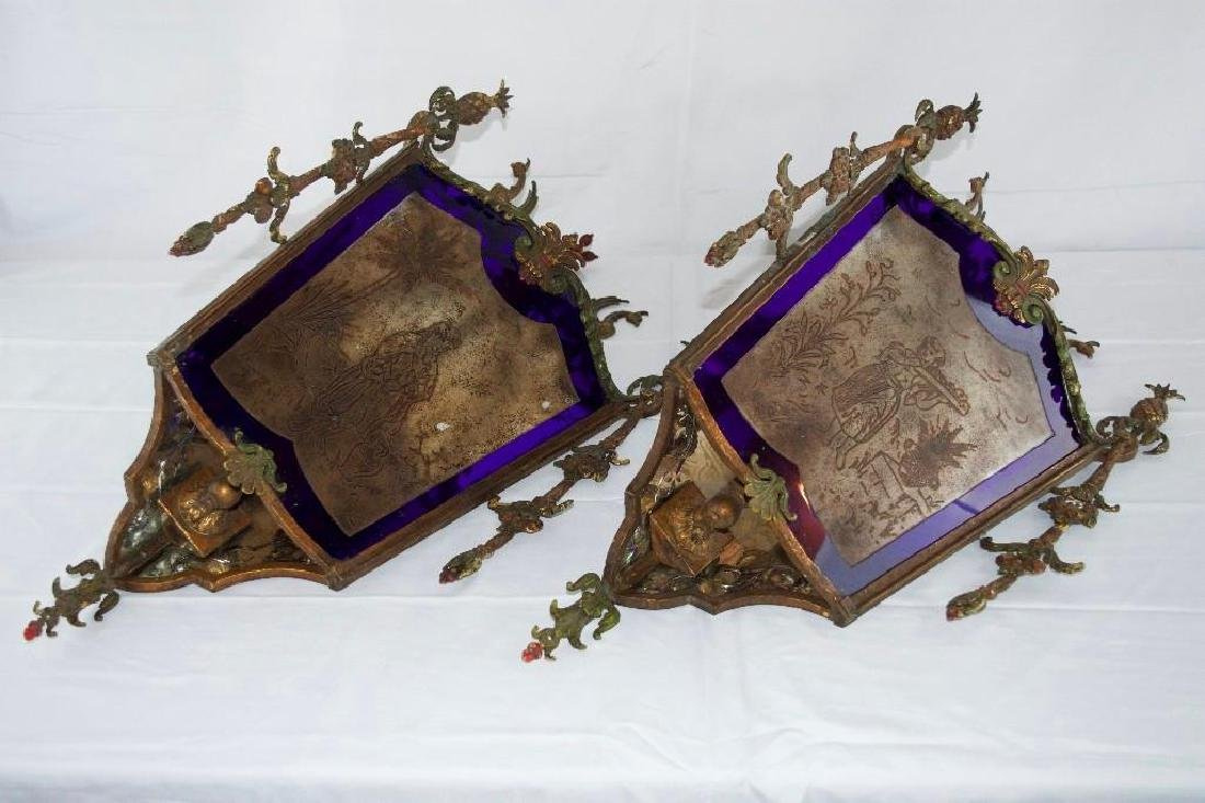 Lot of 2 Antique Wall Sconces, Lighted.