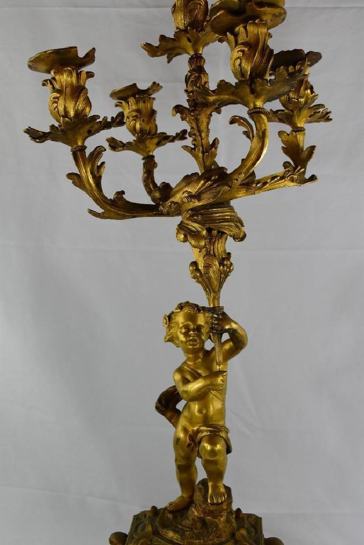 Antique Cherub Gilt Bronze Candelabra - 2