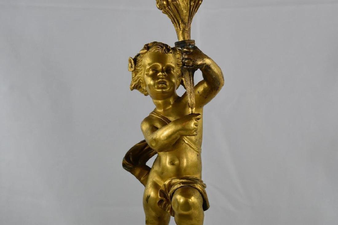 Antique Cherub Gilt Bronze Candelabra - 7