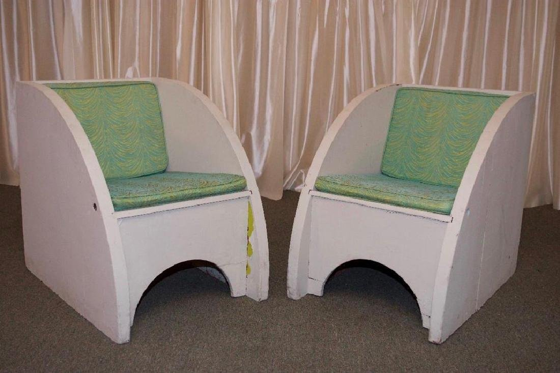 Pair of Vintage 1960s Wooden Arched Chairs - 2