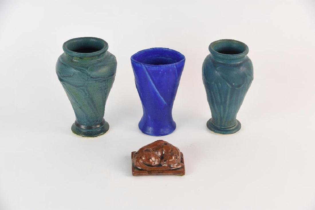 Lot of Four Pewabic Pottery Vase and Tile