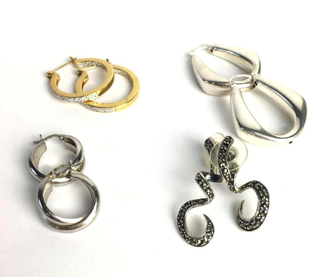 Lot of 4 Sterling Silver Earring Pairs