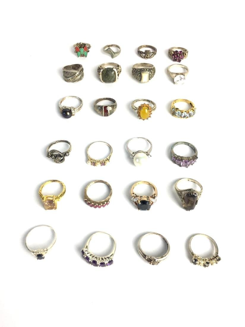Lot of 24 Sterling Silver Rings