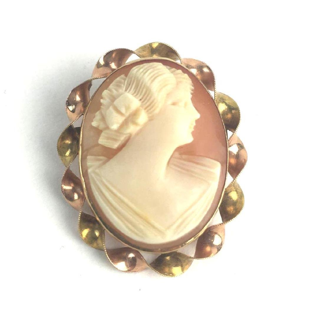 10k Gold Cameo Pin